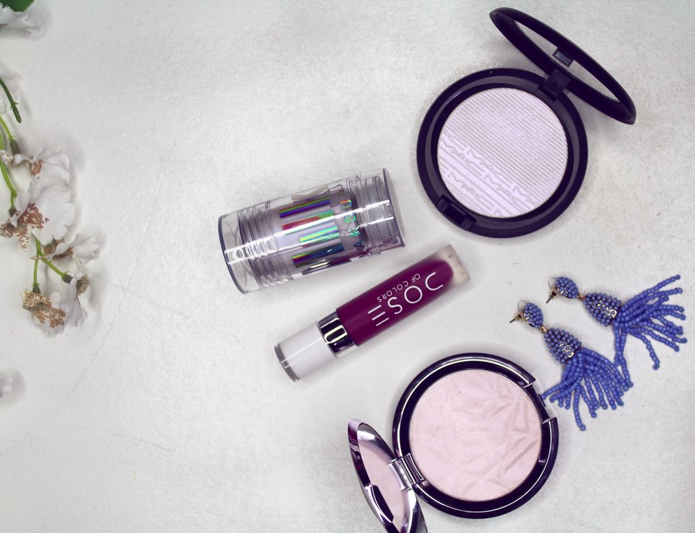 Milk Make-up Holographic Stick in Supernova, MAC Extra Dimension Skin Finish in Soft Frost and Becca Shimmering Skin Perfector Pressed Prismatic Amethyst