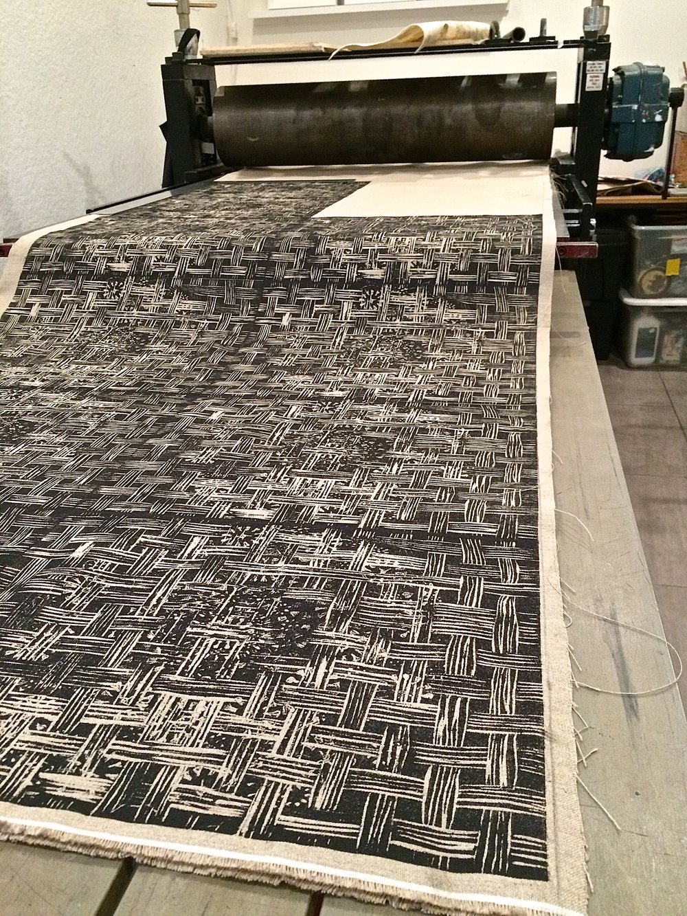 Louise Eastman print in process on the press