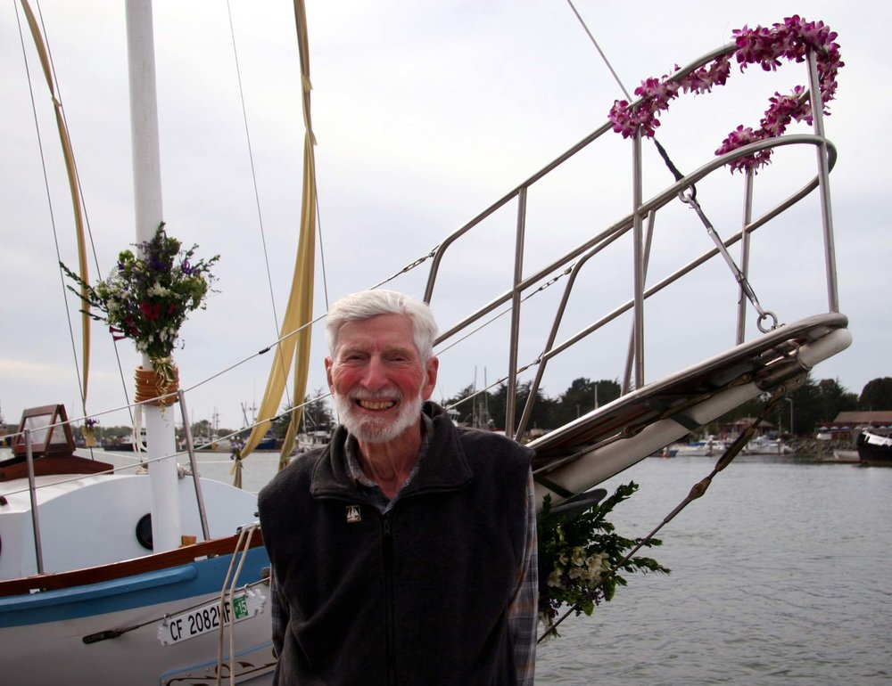 Orion Sherwood, 1958 Golden Rule crewman, at the 2015 launch of the restored ketch