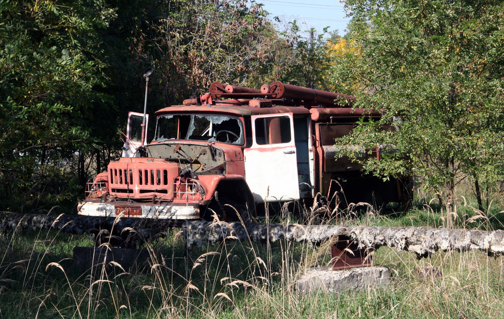 Abandoned truck near No. 4 Nuclear reactor
