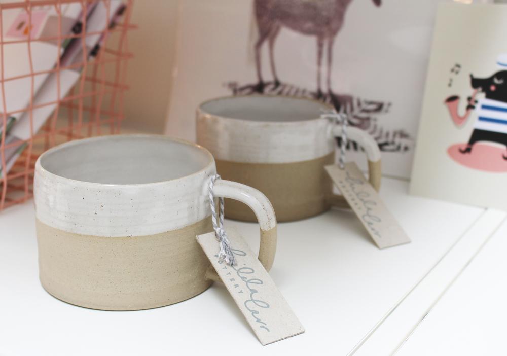 Raw ceramic mug with glaze dip - £16 (each)