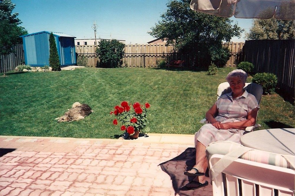 My Grandma, Eileen McGonagle, relaxing in the sunshine.