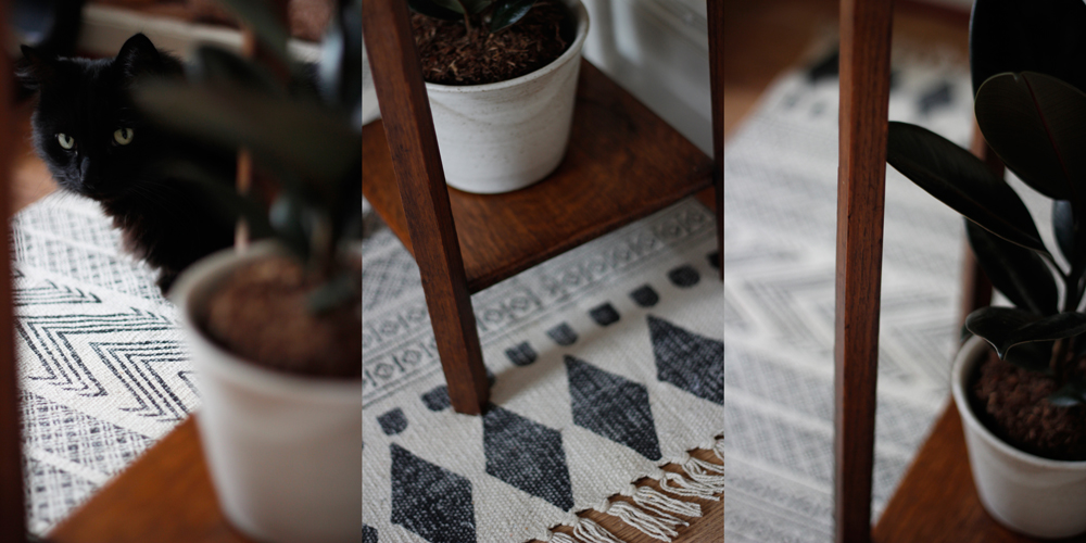 Hand-thrown ceramic plant pot by Preston based potter Tim Fenna £17 • Aztec inspired block print rug by Danish brand House Doctor £40 • Indoor plants available in store (prices varied)