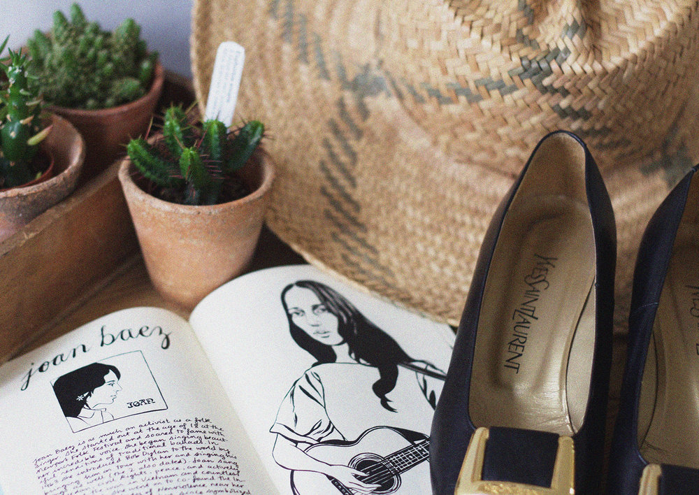 Antique Terracotta Pots with Succulent available exclusively in-store,  'Where Have All The Flowers Gone' Zine by Bijou Karman £12 , Vintage YSL Block Heel Shoes available exclusively in-store.