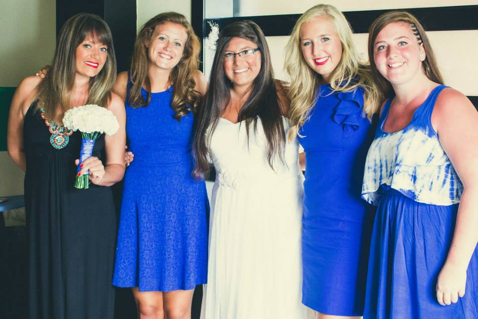 Here's a fun photo of all of us girls celebrating Bryan + Taylor's marriage in 2014!