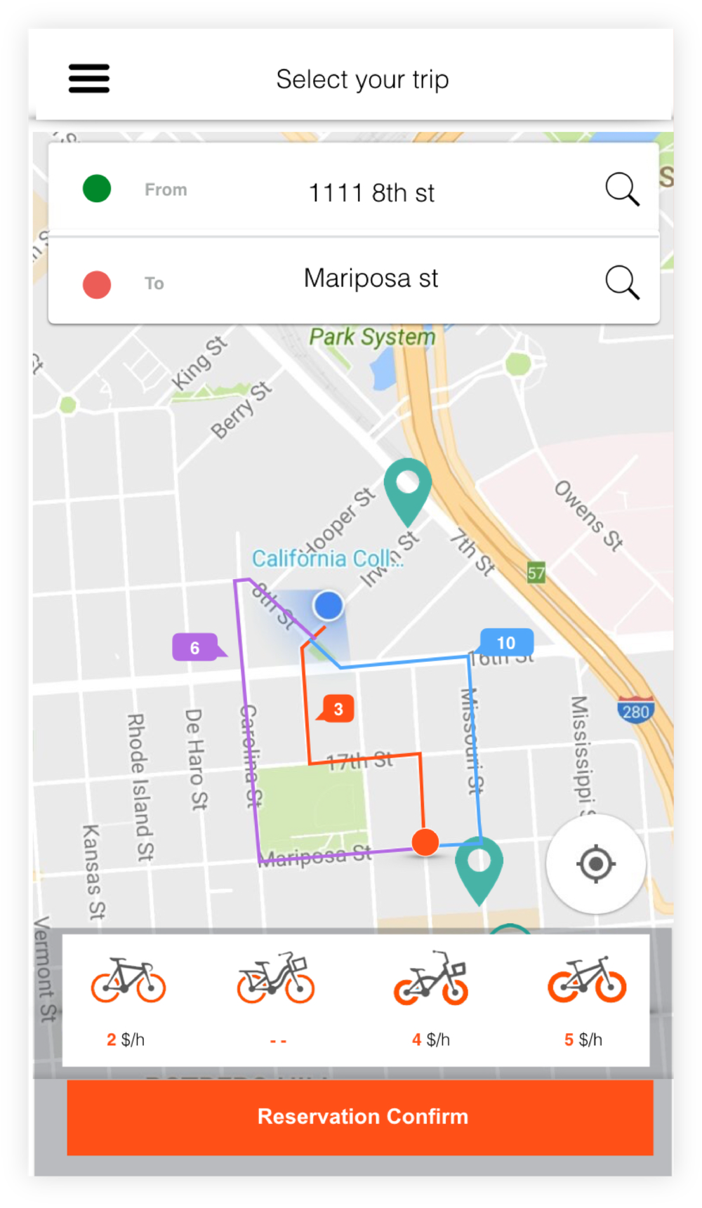 The app will show  central bike stations  where users can leave their bike. They will be spread out enough so that they never have to walk far, yet centralized enough so that there are always bikes available. Users can also choose the kind of bike they want to ride on and that fits their preference of riding.