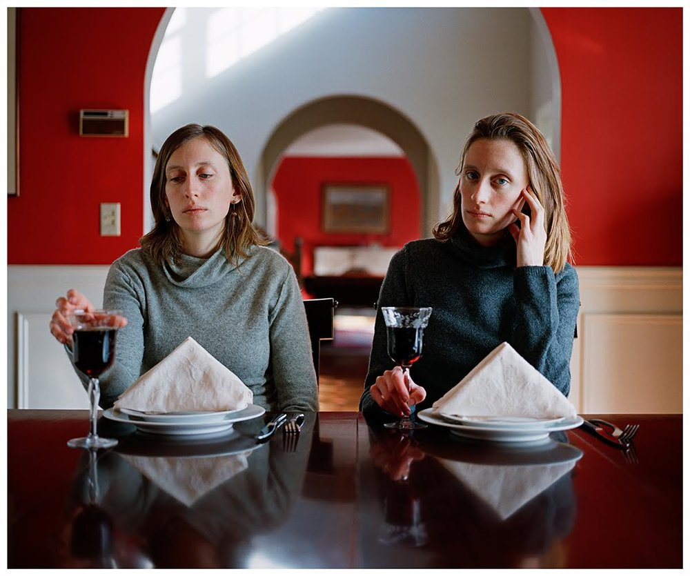 Rikki and Carrie, Dining Room.   Carrie Will , 2008  From the series entitled,  I am redundant, half of a whole, a freak, identical and lucky.  Courtesy Novado Gallery, Jersey City
