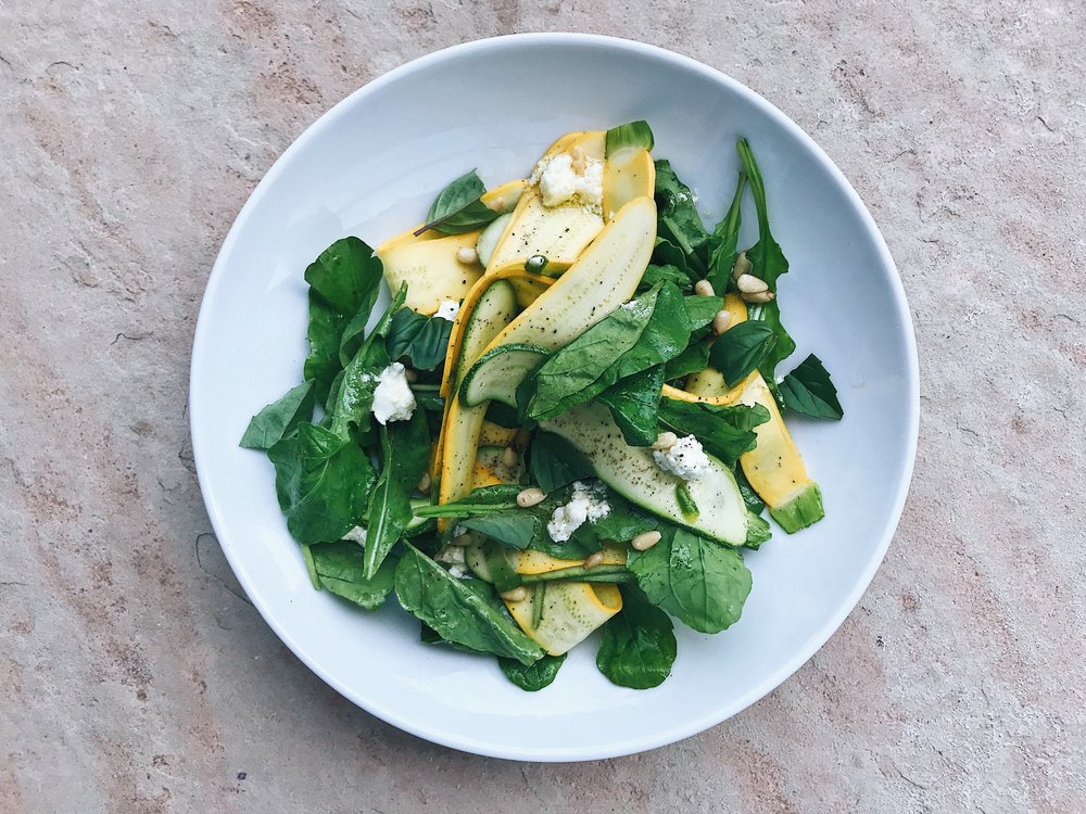 thinly shaved zucchini salad