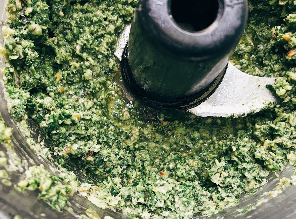 pea pesto basil kale
