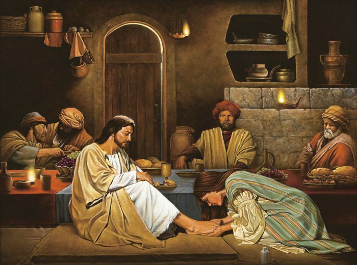"""...Bringing an alabaster flask of ointment, she stood behind him at his feet weeping and began to bathe his feet with her tears."" Luke 7:37b-38a"
