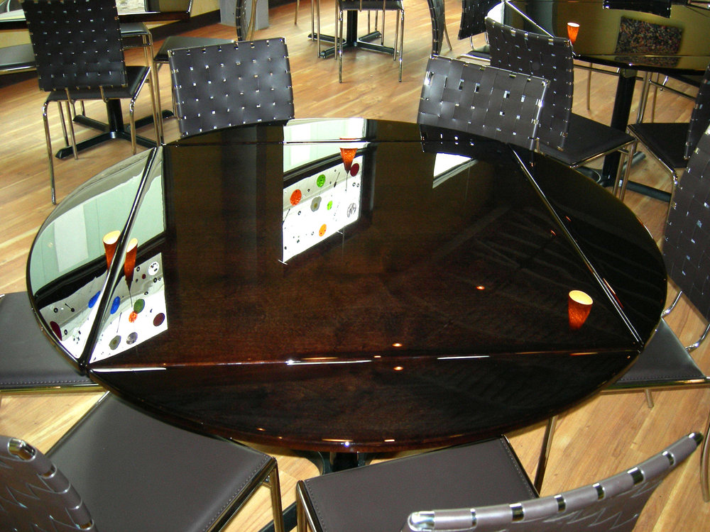 High Gloss Dark Mahogany Folding Leaf Table Top by Eash Design