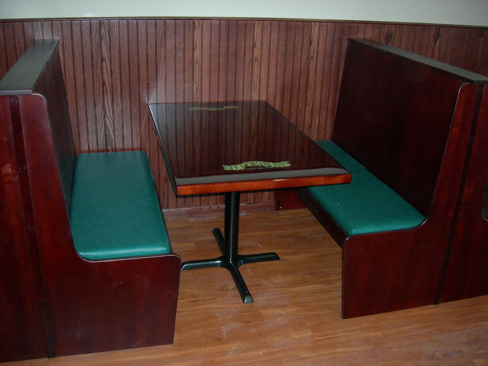 Beef O' Brady's Dark Mahogany Table Top and Booth by Eash Design