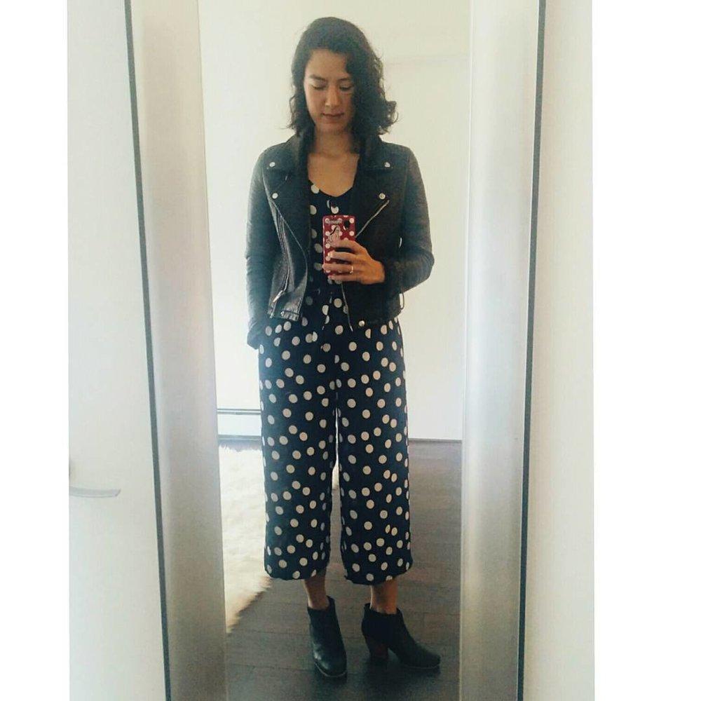 Zara faux leather jacket, Sechung jumpsuit, Rachel Comey mars booties.