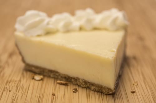 Cheesecake made with Caramel Sea Salt Butter graham cracker crust.