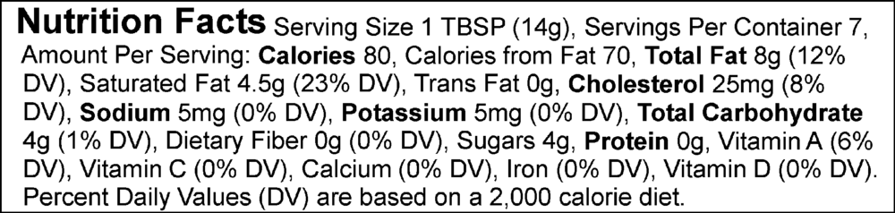Nutrition facts for Epicurean Butter's Cinnamon & Brown Sugar