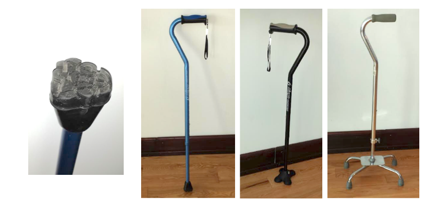Cane tip, single point cane, mini quad cane, wide base quad cane.
