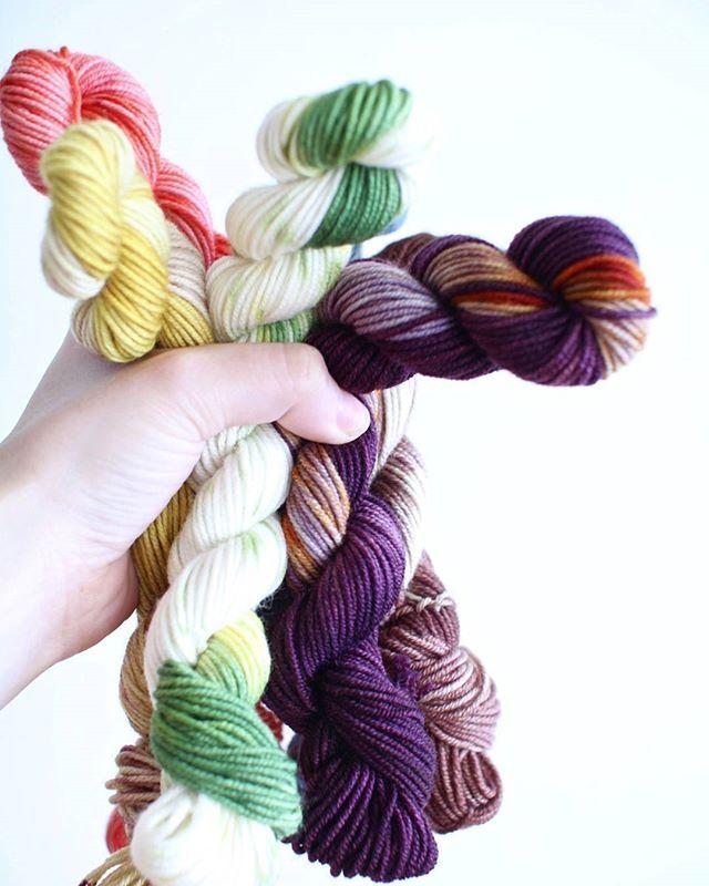 Mini skeins galore! . . . #yarn #yarnporn #yarnaddict #indiedyedyarn #indiedyersofinstagram #handdyed #knitting #knitlife #knittersofinstagram #knittingaddict #crochet #crochetersofinstagram #crochetaddict