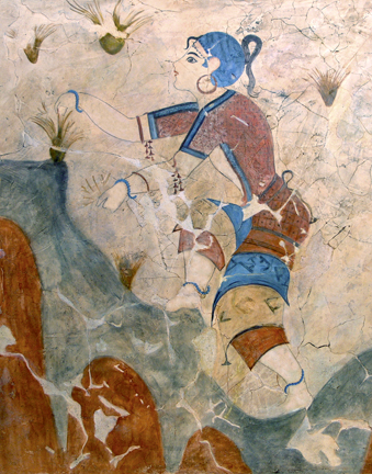 Minoan woman picking saffron, from a fresco on the island of Thera