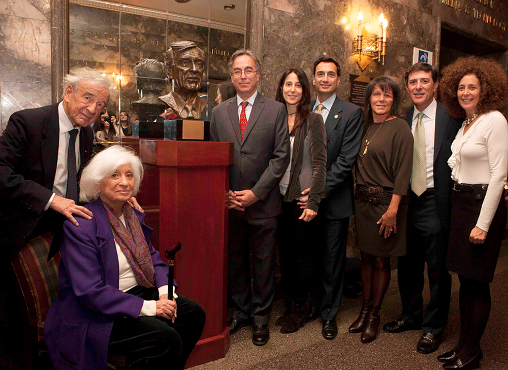 Pictured from left to right: Elie and Marion Wiesel, Marc Mellon, Stacey and Matthew Bronfman, Cindy and Larry Bloch, and Babette Bloch.