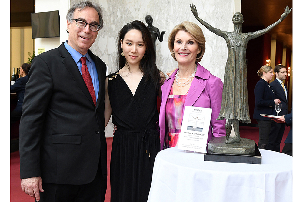 THE ABT 2016 GOLDEN CIRCLE LUNCHEON - Hee Seo, Curtain Call  Marc and Hee with ABT Golden Circle Luncheon Honoree Pat Belote.  Photo © Johanna Weber