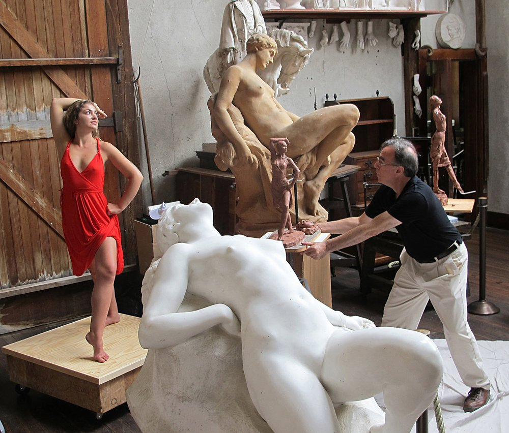 Marc Mellon,  Chesterwood's sculptor-in-residence working on Catalina, July 2012