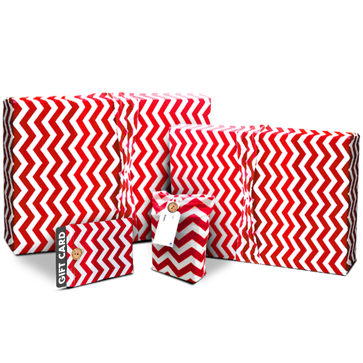 Gift wrap and gift card holder sets wrapeezreusable stretch red chevron gift wrap gift card holder set negle Choice Image