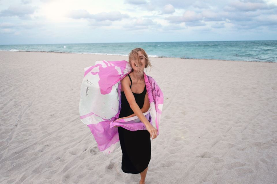 """I'm sending you some positive vibes from Miami beach. The Scarf is designed and belongs to my mentor Barbara Hulanicki ( """"Biba"""" creator)."""