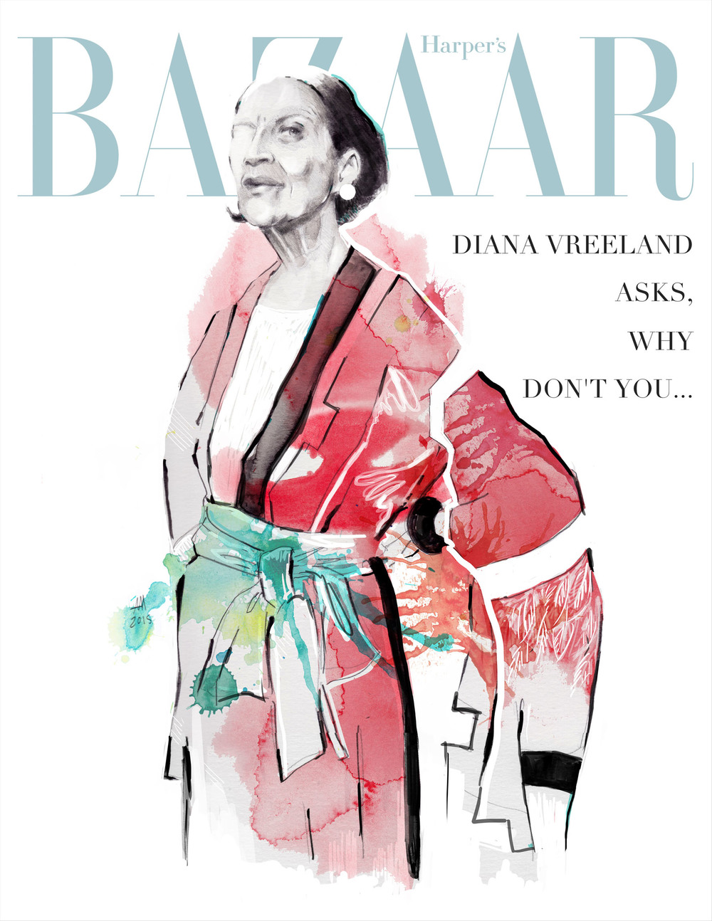 illustration by Mia Mandela. The one of my very favorite Diana Vreeland.