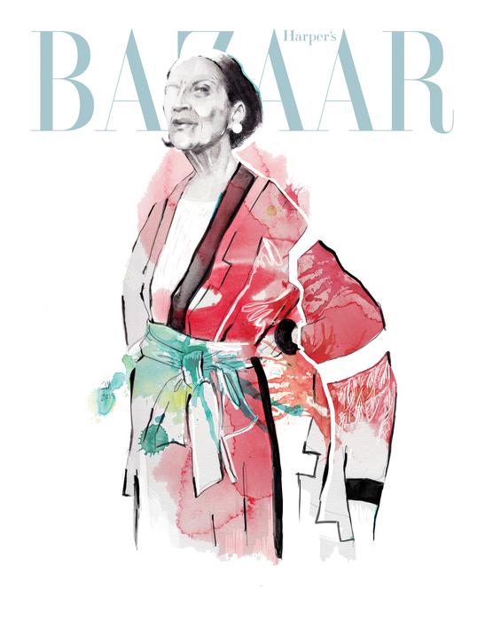 cover magazine illustration: portrait of Diana Vreeland.