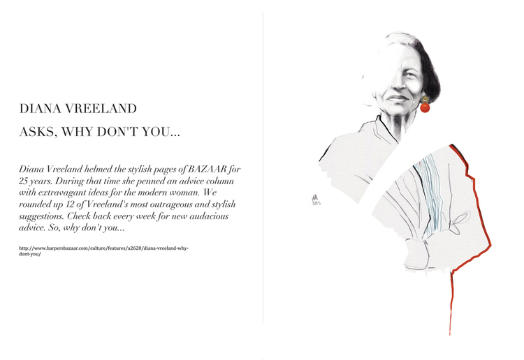 editorial illustration: portrait of Diana Vreeland.