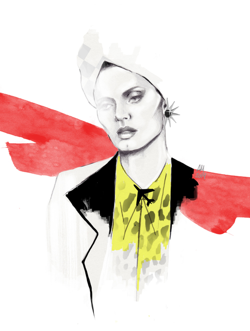 fashion illustration: portrait of Malgosia Bela.