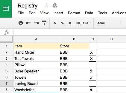 Example of what my Google Sheets looked like!