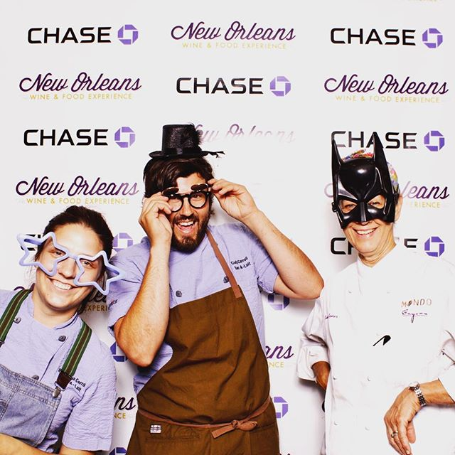 Chefs Cody and Samantha Carroll of @sacalaitnola and Chef Susan Spicer of @mondonola get in on the action at the New Orleans Wine and Food Experience kickoff party at the Chase Bank on Harrison Ave. @nowfe @n.o.c.c.i