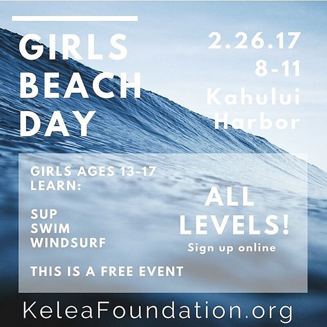Join us with @keleafoundation for girls beach day this sunday!! Girls 13-17 learn all kinds of water skills, sup swim, windsurfing and more!  Sign up online at keleafoundation.org or check out their IG! #mauicountryclub #girlsday #beachday