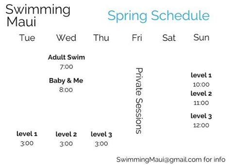 #spring schedule starts today! Limited spots! To sign up email us. Baby & Me and Adult Swim are drop in $15.  Classes at #mauicountryclub  #swimmaui #gladlife #mauigroms