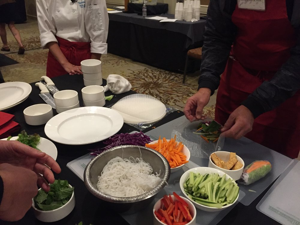 """Preparing vegetable spring rolls at a workshop called """"The Doctor Is In (The Kitchen): Cooking Delicious Food for Disease Prevention & Treatment"""""""
