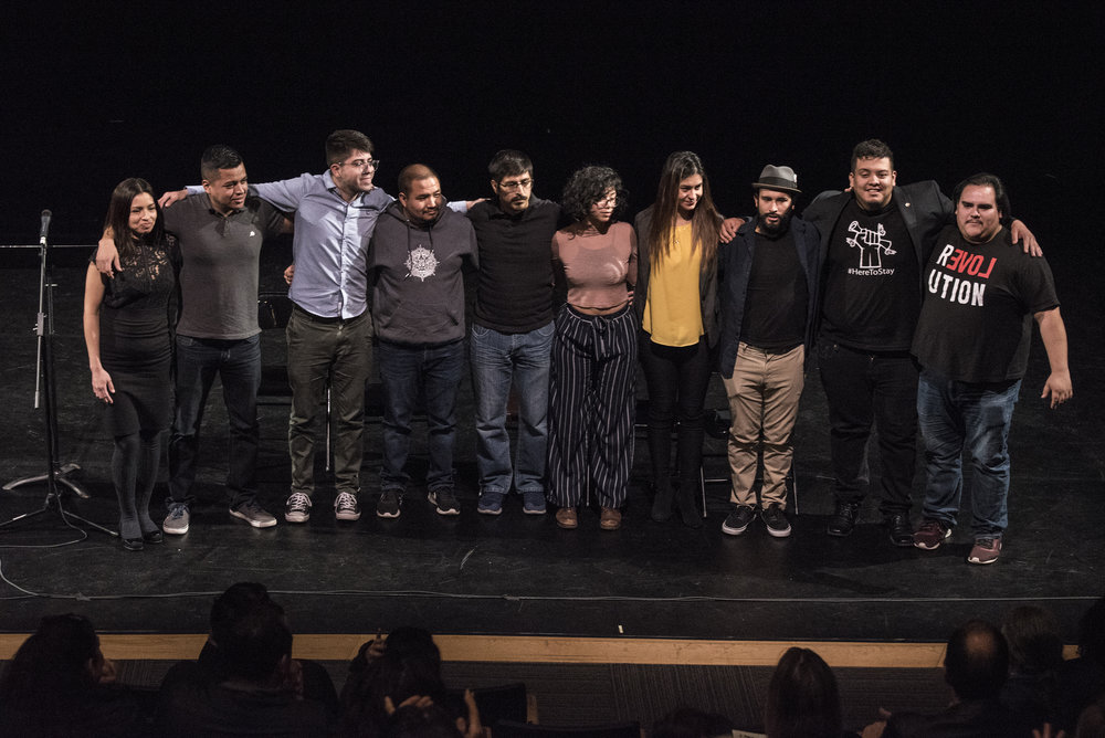 Motus Theater's UndocuMonologues Writers/Performers at a preview-private reading for friends and allies in Boulder, Colorado. Photo by  Michael Ensminger