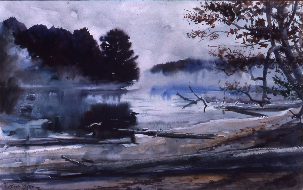 Lifting Fog.      Brandreth Lake, NY. 1979, watercolor.  11.2 x 17.9 inches.  Private Collection.