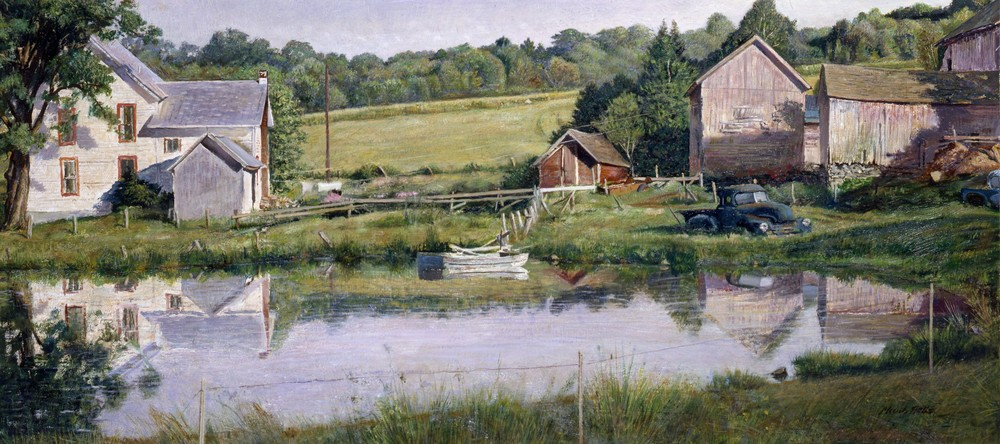 July at Judson's.      1979-1980, oil on panel. 19 x 41.5 inches. Private Collection.