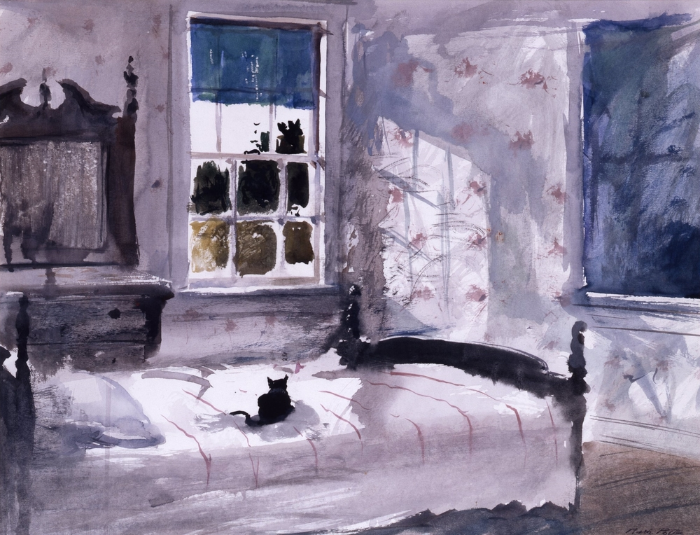 """Small Hotel aka Bedroom on the Meadow.    1985, watercolor. 17.8 x 23.3 inches. Private Collection.   This picture, a classroom demo, was started with a student question: """"How do you paint a window?"""" The bed looked empty, so...the cat...recalling a similar solution used by Andrew Wyeth. The picture however, also recalls the heavy furniture with dusky mirrors in the nursery at the far end of our camp which my brother and I used as teenagers. The nursery is now part of my brother's camp, """"Loose Ends""""."""