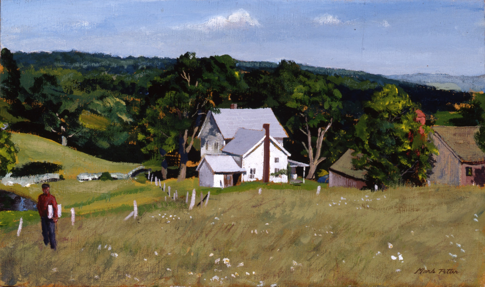 Mark above Judson's.  c 1990, oil on canvas.  9.9 x 16.8 inches.
