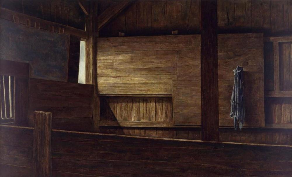 BARN INTERIOR #1.       1956, oil on canvas. Private Collection.