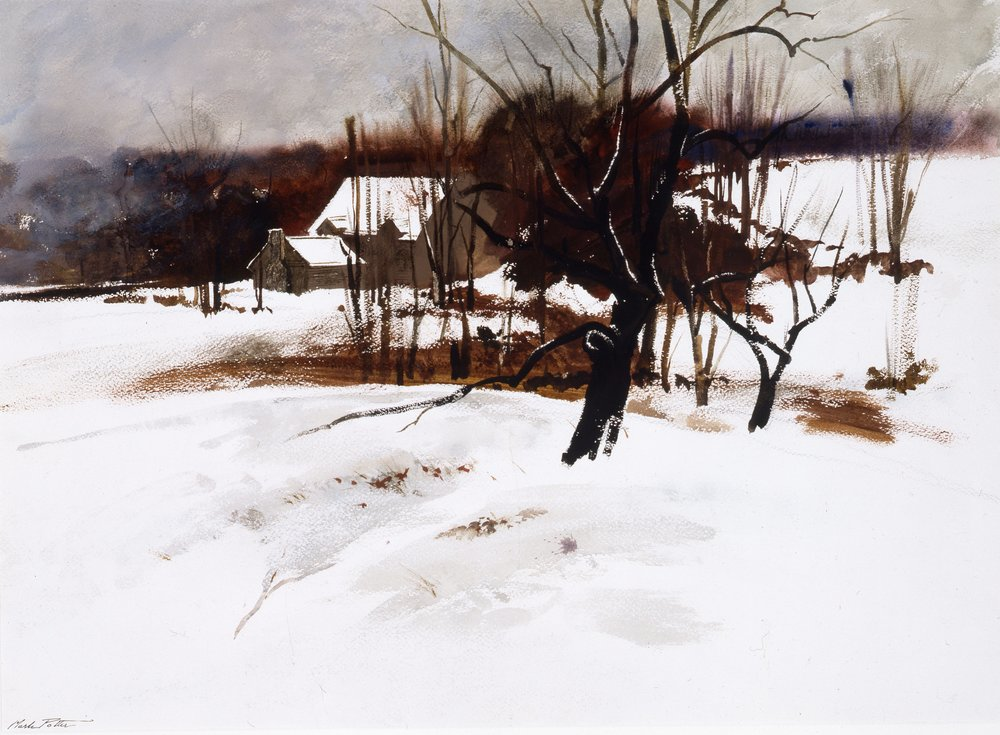 Winter at Augusta's.     1970, watercolor. 20 1/2 x 29 inches. Courtesy of New Britain Museum of American Art. 2010/119.