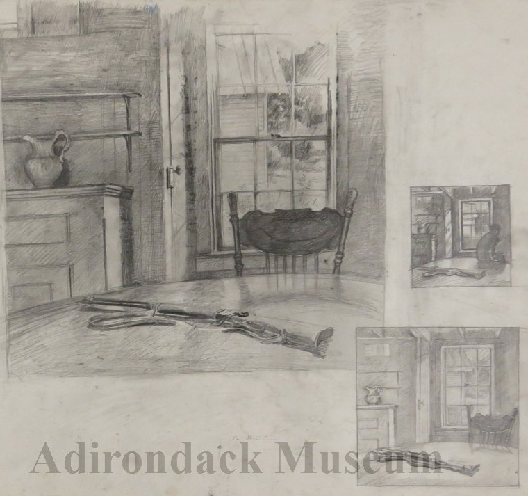Untitled study  with vignettes (detail).  Study for Upstate aka The Maids' Dining Room,  23 x 29 inches.  1983.  Courtesy of Adirondack Experience: The Museum on Blue Mountain Lake.  Online Collections.  2014.049.0004b.