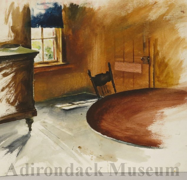 Untitled study  (detail). Study for Upstate aka The Maids' Dining Room. Watercolor sketch on paper, 17 x 22 inches,1983.   Courtesy of Adirondack Experience: The Museum on Blue Mountain Lake. Online Collections. 2014.049.0001.