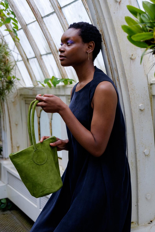 green suede bucket bag