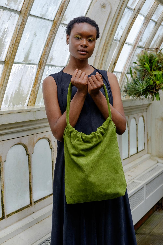 green suede handmade bag