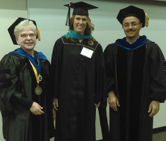 Nonprofit management program director Mary Ann Feldheim, graduate Charlene Miseli, and SPAdirector Naim Kapucu.