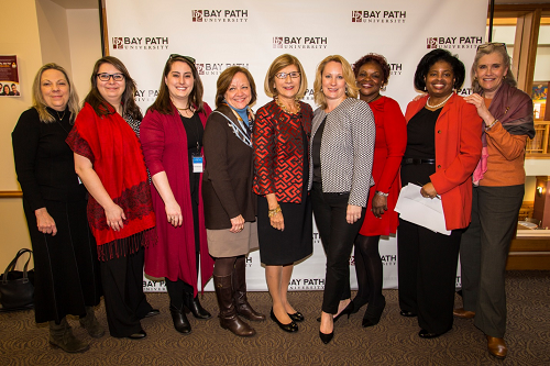 Starting third from left: Ellen Moorehouse, Program Officer WFWM, Sylvia de Paas Phillips, Nonprofit Management & Philanthropy Program Director, Carol Leary, President, Bay Path, and Michelle Theroux Board Member.