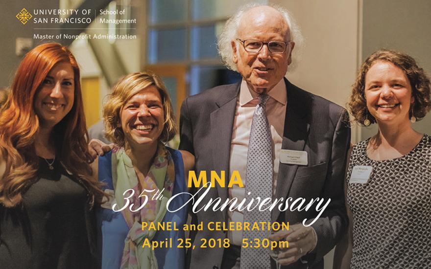 L-R: Elle Robinson, MNA '14, Alissa Gentille, MNA '14, Michael O'Neill, Professor Emeritus, Founder and Former Master of Nonprofit Administration Program Director, and Syri Mongiello, MNA'14, at an MNA celebration.